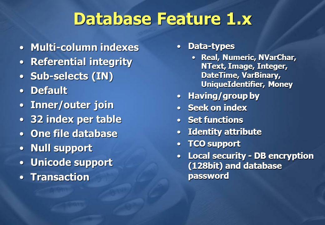 Performance Big-hitters Base Table CursorsBase Table Cursors Parameterized QueriesParameterized Queries DataReader versus DataSetDataReader versus DataSet SqlCeResultSet versus DataSetSqlCeResultSet versus DataSet IndiciIndici