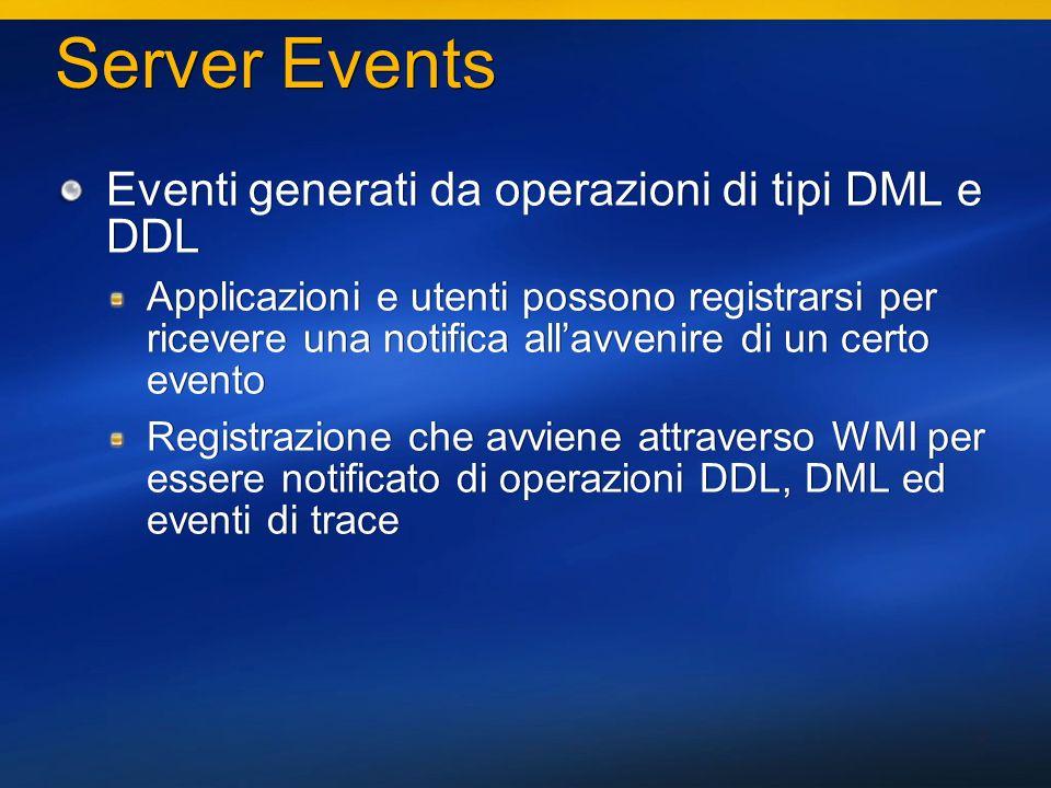 10 Server Events Eventi generati da operazioni di tipi DML e DDL Applicazioni e utenti possono registrarsi per ricevere una notifica allavvenire di un certo evento Registrazione che avviene attraverso WMI per essere notificato di operazioni DDL, DML ed eventi di trace Eventi generati da operazioni di tipi DML e DDL Applicazioni e utenti possono registrarsi per ricevere una notifica allavvenire di un certo evento Registrazione che avviene attraverso WMI per essere notificato di operazioni DDL, DML ed eventi di trace
