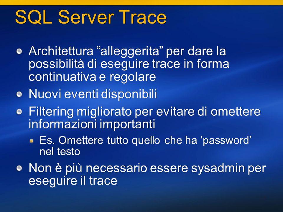 11 SQL Server Trace Architettura alleggerita per dare la possibilità di eseguire trace in forma continuativa e regolare Nuovi eventi disponibili Filtering migliorato per evitare di omettere informazioni importanti Es.