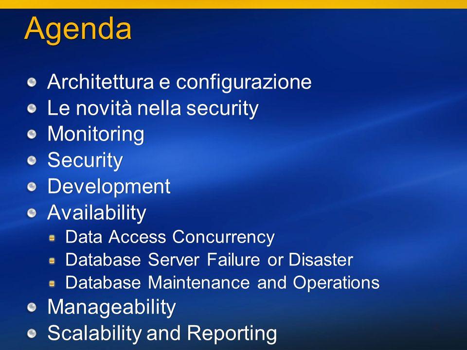 13 Security Security su catalogo e metadati Chi si collega vede solo i metadati sui quali ha qualche permission!!.