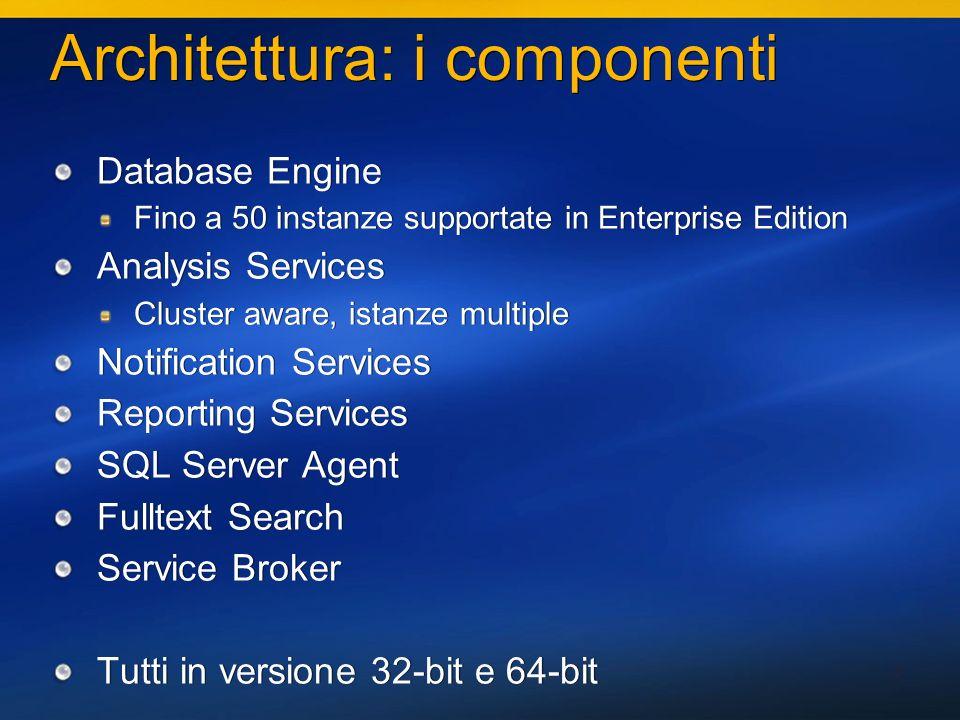 4 Fulltext Search Architettura completamente rifatta Ora i cataloghi degli indici sono inclusi in Backup e Restore Attach e Detach del db includono i cataloghi Multi-Instanza Una istanza di FTS per SQL Server Architettura completamente rifatta Ora i cataloghi degli indici sono inclusi in Backup e Restore Attach e Detach del db includono i cataloghi Multi-Instanza Una istanza di FTS per SQL Server