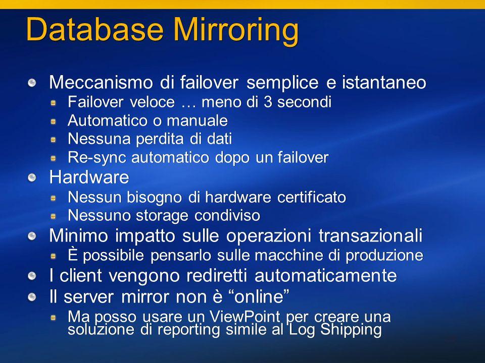 35 Database Mirroring Meccanismo di failover semplice e istantaneo Failover veloce … meno di 3 secondi Automatico o manuale Nessuna perdita di dati Re