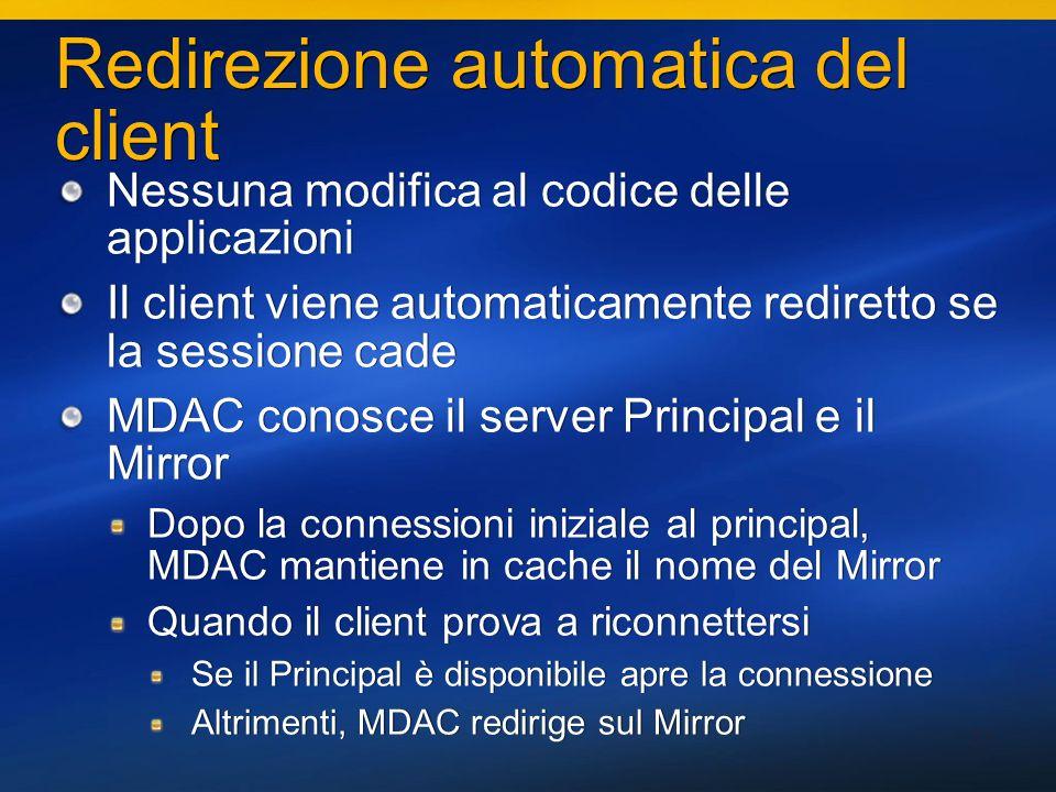 37 Redirezione automatica del client Nessuna modifica al codice delle applicazioni Il client viene automaticamente rediretto se la sessione cade MDAC