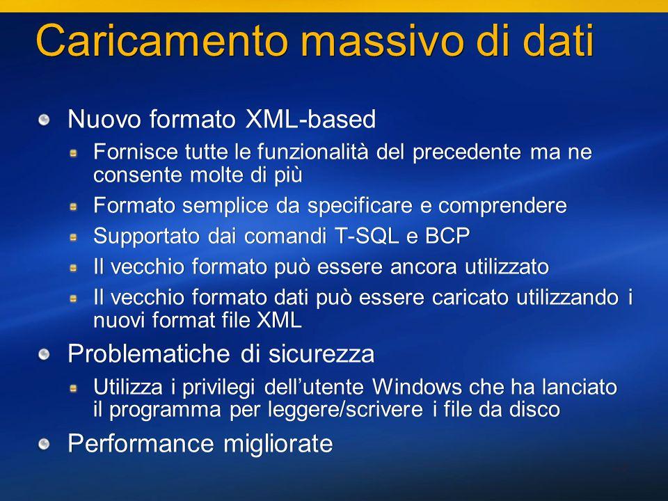 43 Caricamento massivo di dati Nuovo formato XML-based Fornisce tutte le funzionalità del precedente ma ne consente molte di più Formato semplice da s
