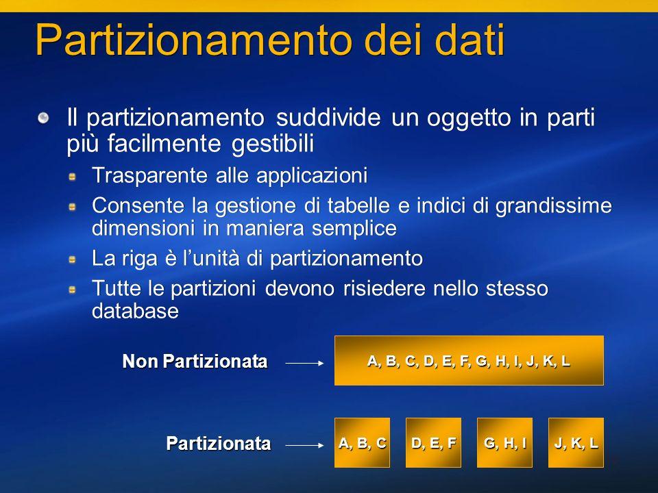 45 Partizionamento dei dati Il partizionamento suddivide un oggetto in parti più facilmente gestibili Trasparente alle applicazioni Consente la gestio