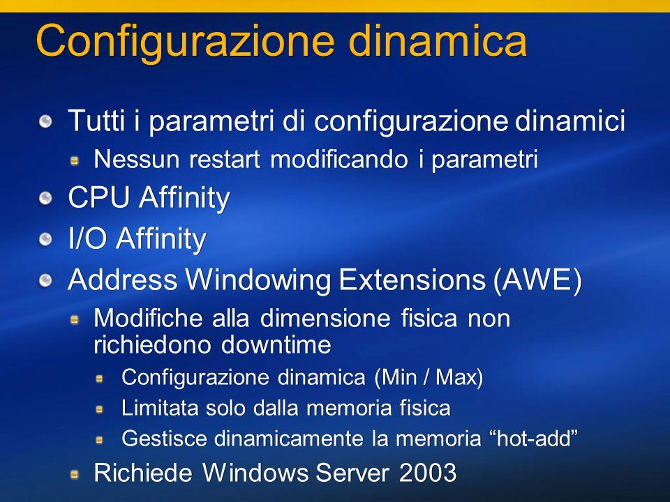16 Data types Varchar(1-8000), Nvarchar(1-4000), Varbinary(1-8000) La dimensione max della colonna rimane 8,000 bytes Un record può ora superare la dimensione di una pagina Varchar(max), Nvarchar(max), Varbinary(max) Possono ospitare più di 8000 character / byte Varbinary(max) Filestream Date, Time – data e ora separata (sono tipi CLR) XML – Supporto completo al nuovo tipo UDDT – User-defined Data Types utilizzando il CLR Varchar(1-8000), Nvarchar(1-4000), Varbinary(1-8000) La dimensione max della colonna rimane 8,000 bytes Un record può ora superare la dimensione di una pagina Varchar(max), Nvarchar(max), Varbinary(max) Possono ospitare più di 8000 character / byte Varbinary(max) Filestream Date, Time – data e ora separata (sono tipi CLR) XML – Supporto completo al nuovo tipo UDDT – User-defined Data Types utilizzando il CLR