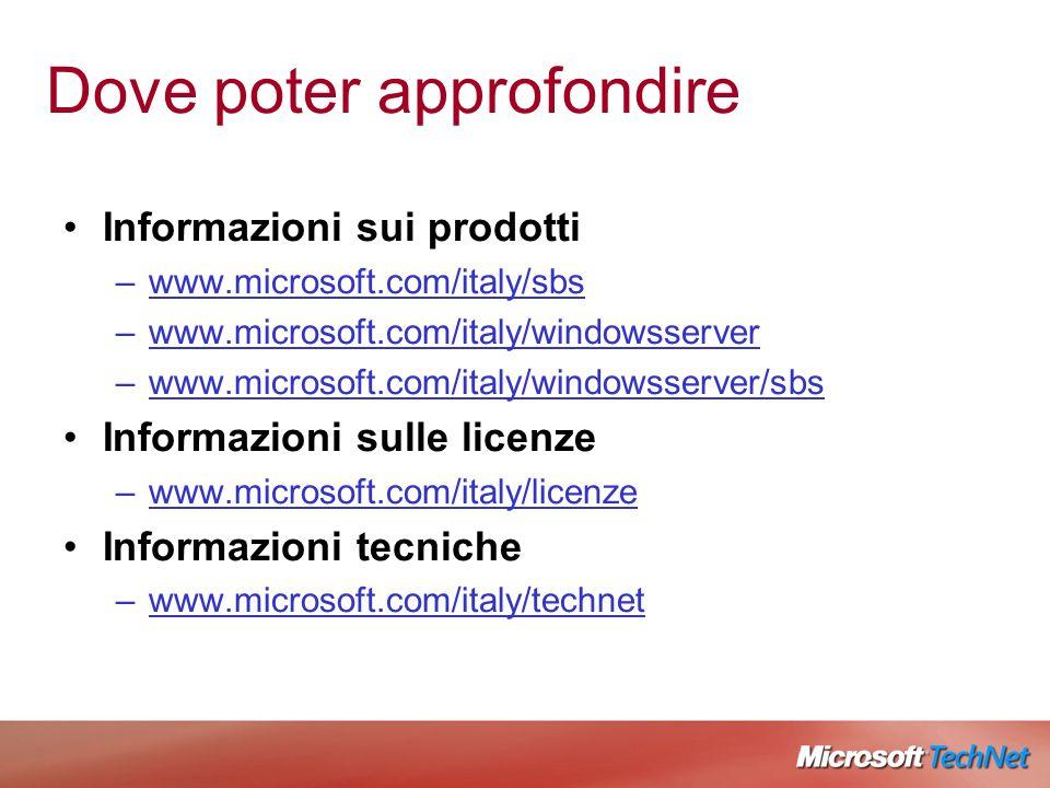 Dove poter approfondire Informazioni sui prodotti –www.microsoft.com/italy/sbs –www.microsoft.com/italy/windowsserver –www.microsoft.com/italy/windowsserver/sbs Informazioni sulle licenze –www.microsoft.com/italy/licenze Informazioni tecniche –www.microsoft.com/italy/technet