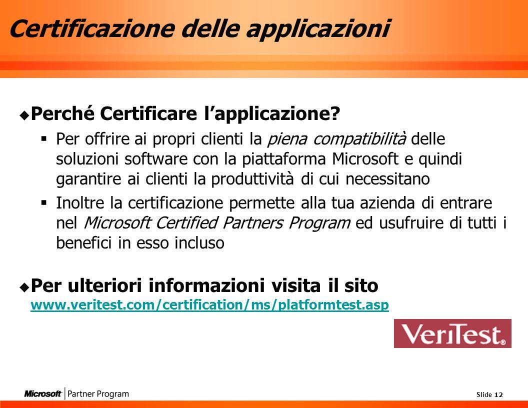 Slide 12 Certificazione delle applicazioni Perché Certificare lapplicazione.