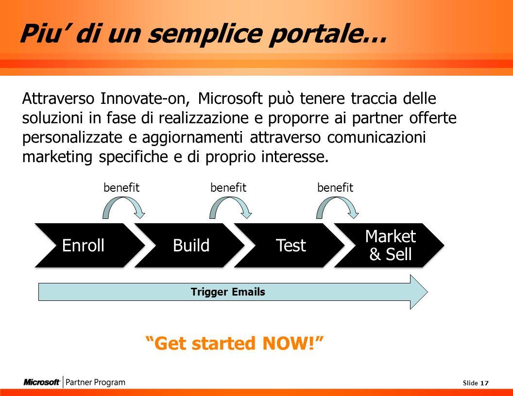 Slide 17 Piu di un semplice portale… Attraverso Innovate-on, Microsoft può tenere traccia delle soluzioni in fase di realizzazione e proporre ai partner offerte personalizzate e aggiornamenti attraverso comunicazioni marketing specifiche e di proprio interesse.