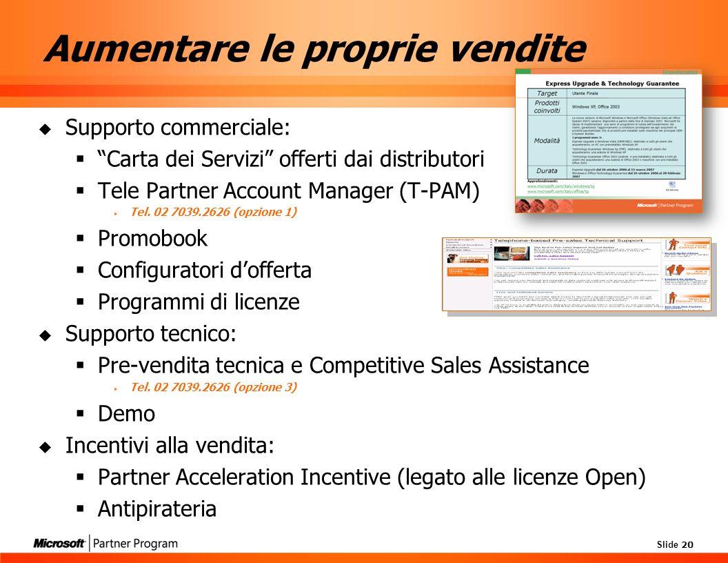 Slide 20 Aumentare le proprie vendite Supporto commerciale: Carta dei Servizi offerti dai distributori Tele Partner Account Manager (T-PAM) Tel.