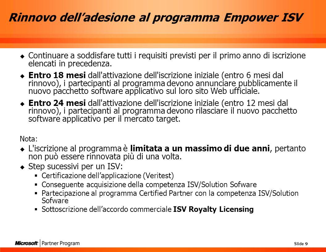 Slide 9 Rinnovo delladesione al programma Empower ISV Continuare a soddisfare tutti i requisiti previsti per il primo anno di iscrizione elencati in precedenza.