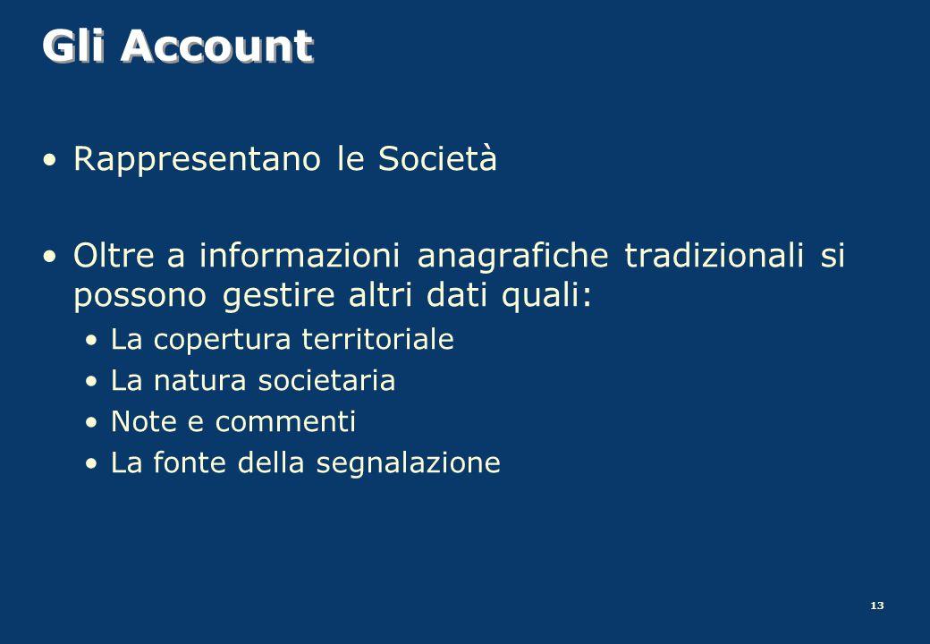 13 Gli Account Rappresentano le Società Oltre a informazioni anagrafiche tradizionali si possono gestire altri dati quali: La copertura territoriale L