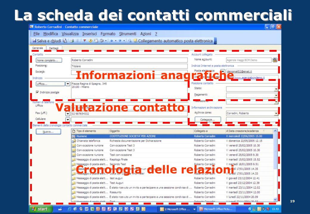 19 La scheda dei contatti commerciali Informazioni anagrafiche Valutazione contatto Cronologia delle relazioni