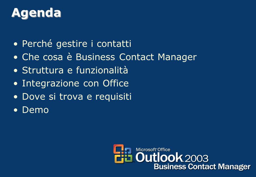 2 Agenda Perché gestire i contatti Che cosa è Business Contact Manager Struttura e funzionalità Integrazione con Office Dove si trova e requisiti Demo