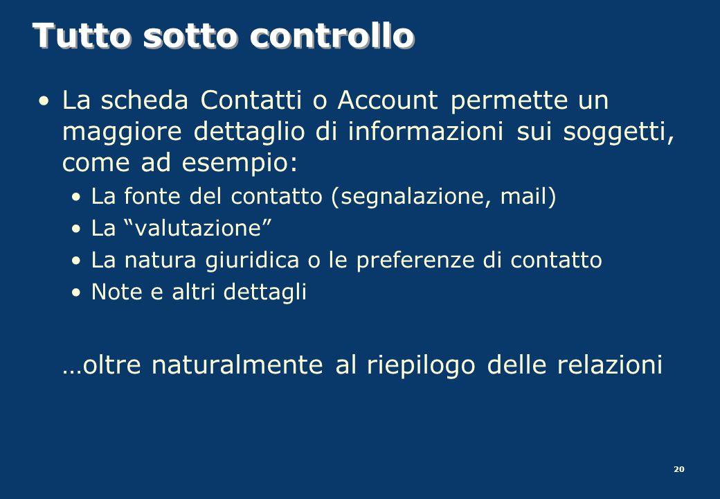 20 Tutto sotto controllo La scheda Contatti o Account permette un maggiore dettaglio di informazioni sui soggetti, come ad esempio: La fonte del conta