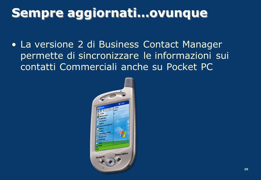 29 Sempre aggiornati…ovunque La versione 2 di Business Contact Manager permette di sincronizzare le informazioni sui contatti Commerciali anche su Poc