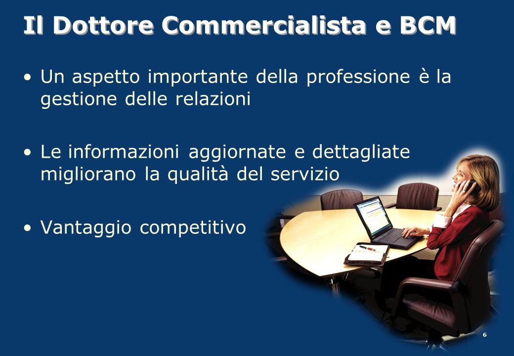 6 Il Dottore Commercialista e BCM Un aspetto importante della professione è la gestione delle relazioni Le informazioni aggiornate e dettagliate migli