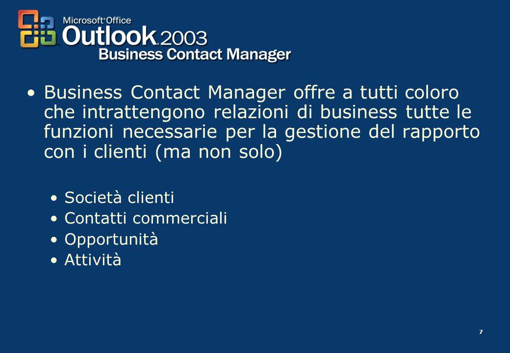 7 Business Contact Manager offre a tutti coloro che intrattengono relazioni di business tutte le funzioni necessarie per la gestione del rapporto con