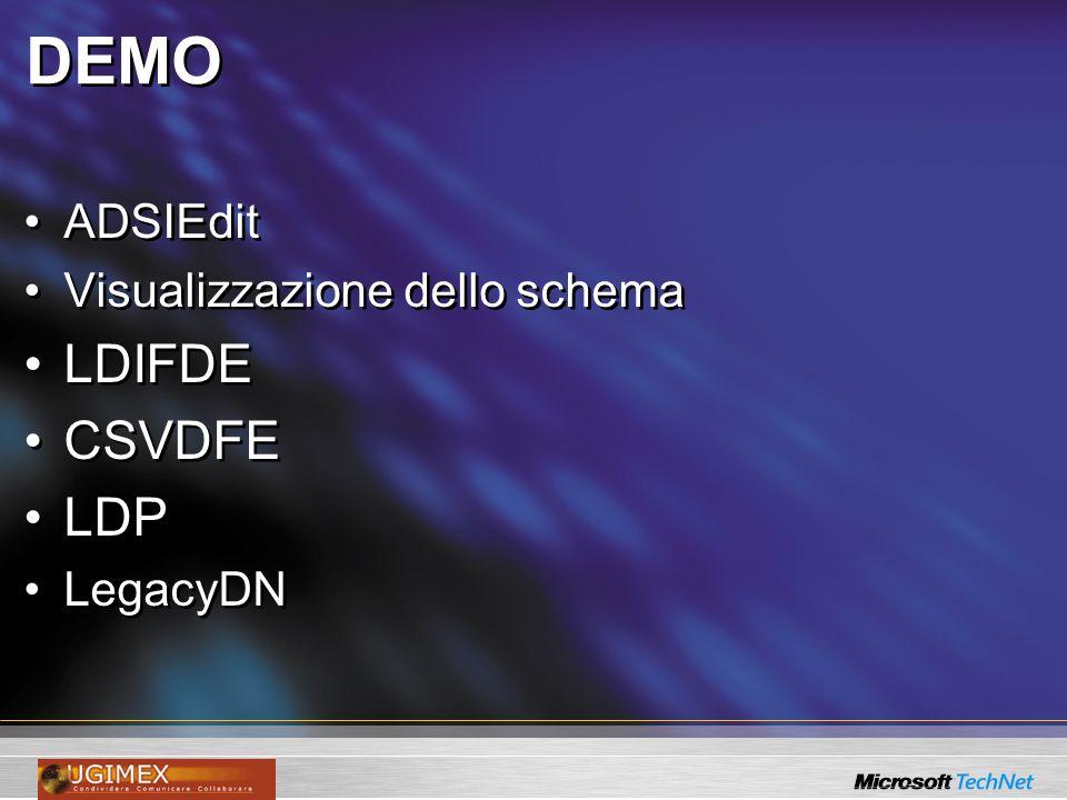 DEMO ADSIEdit Visualizzazione dello schema LDIFDE CSVDFE LDP LegacyDN ADSIEdit Visualizzazione dello schema LDIFDE CSVDFE LDP LegacyDN