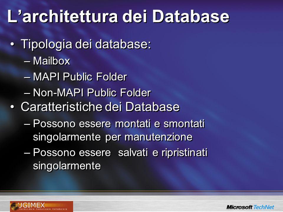 Larchitettura dei Database Tipologia dei database: –Mailbox –MAPI Public Folder –Non-MAPI Public Folder Caratteristiche dei Database –Possono essere m