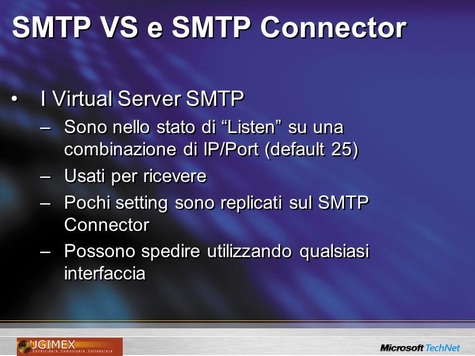 SMTP VS e SMTP Connector I Virtual Server SMTP –Sono nello stato di Listen su una combinazione di IP/Port (default 25) –Usati per ricevere –Pochi setting sono replicati sul SMTP Connector –Possono spedire utilizzando qualsiasi interfaccia I Virtual Server SMTP –Sono nello stato di Listen su una combinazione di IP/Port (default 25) –Usati per ricevere –Pochi setting sono replicati sul SMTP Connector –Possono spedire utilizzando qualsiasi interfaccia