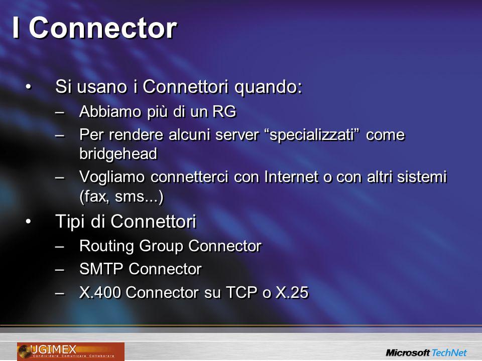 I Connector Si usano i Connettori quando: –Abbiamo più di un RG –Per rendere alcuni server specializzati come bridgehead –Vogliamo connetterci con Int