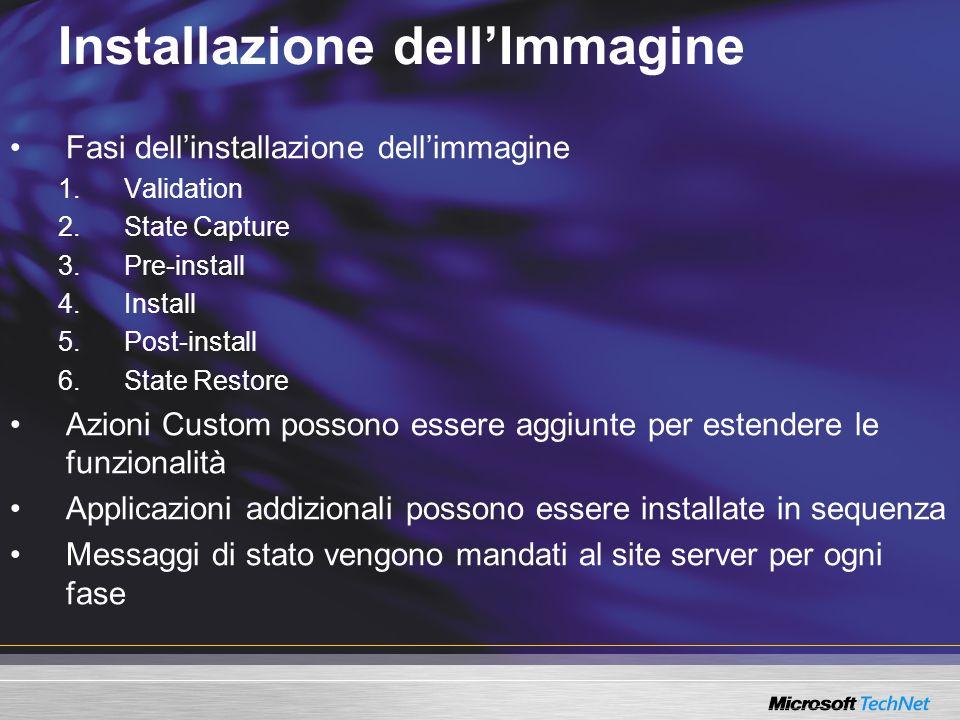 Installazione dellImmagine Fasi dellinstallazione dellimmagine 1.Validation 2.State Capture 3.Pre-install 4.Install 5.Post-install 6.State Restore Azi