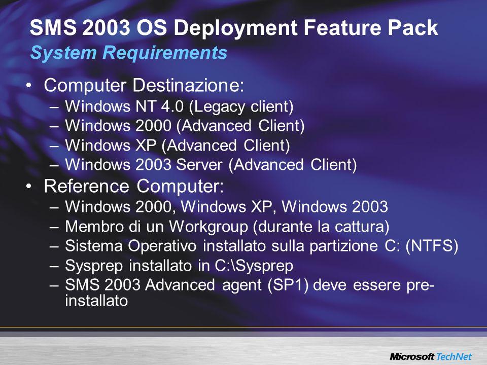 Computer Destinazione: –Windows NT 4.0 (Legacy client) –Windows 2000 (Advanced Client) –Windows XP (Advanced Client) –Windows 2003 Server (Advanced Cl