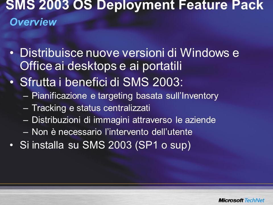 SMS 2003 OS Deployment Feature Pack Overview Distribuisce nuove versioni di Windows e Office ai desktops e ai portatili Sfrutta i benefici di SMS 2003