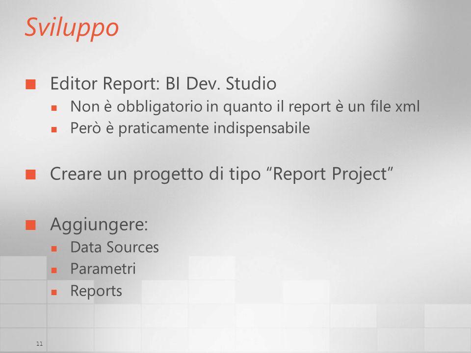 11 Sviluppo Editor Report: BI Dev. Studio Non è obbligatorio in quanto il report è un file xml Però è praticamente indispensabile Creare un progetto d
