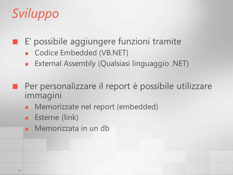 13 Sviluppo E possibile aggiungere funzioni tramite Codice Embedded (VB.NET) External Assembly (Qualsiasi linguaggio.NET) Per personalizzare il report