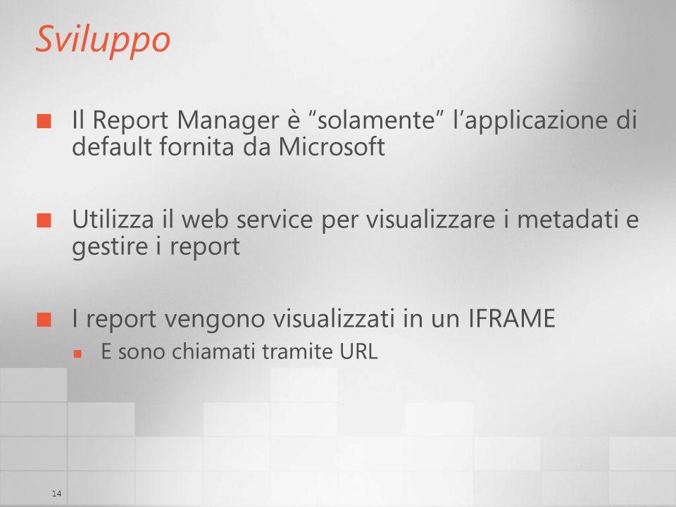 14 Sviluppo Il Report Manager è solamente lapplicazione di default fornita da Microsoft Utilizza il web service per visualizzare i metadati e gestire