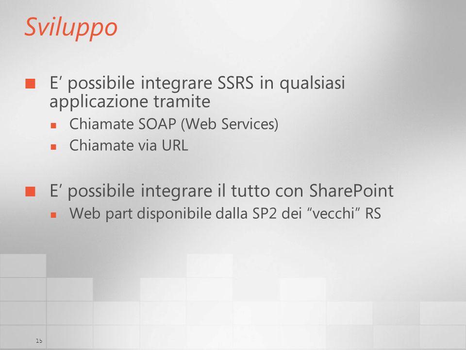 15 Sviluppo E possibile integrare SSRS in qualsiasi applicazione tramite Chiamate SOAP (Web Services) Chiamate via URL E possibile integrare il tutto
