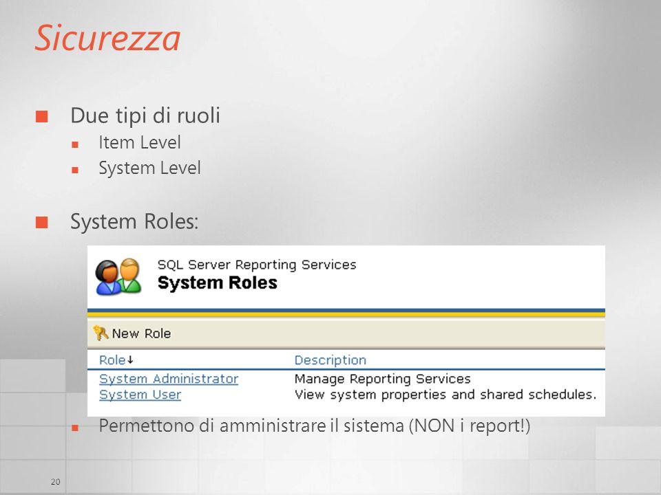 20 Sicurezza Due tipi di ruoli Item Level System Level System Roles: Permettono di amministrare il sistema (NON i report!)