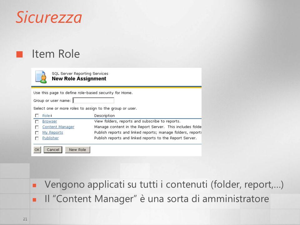 21 Sicurezza Item Role Vengono applicati su tutti i contenuti (folder, report,…) Il Content Manager è una sorta di amministratore