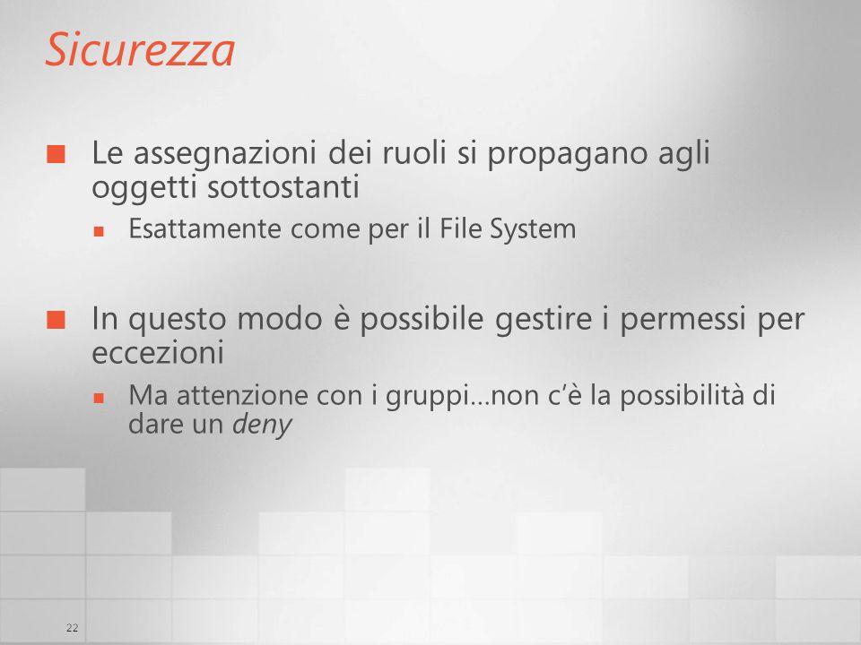 22 Sicurezza Le assegnazioni dei ruoli si propagano agli oggetti sottostanti Esattamente come per il File System In questo modo è possibile gestire i