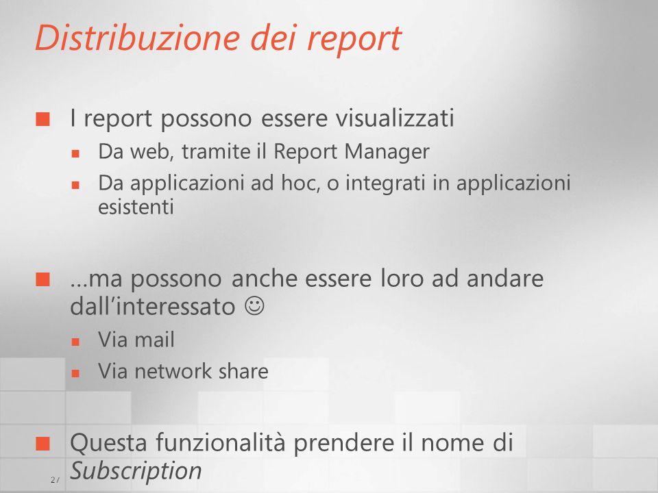 27 Distribuzione dei report I report possono essere visualizzati Da web, tramite il Report Manager Da applicazioni ad hoc, o integrati in applicazioni