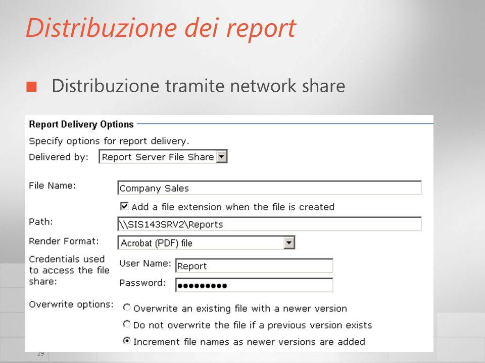 29 Distribuzione dei report Distribuzione tramite network share