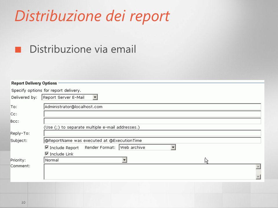 30 Distribuzione dei report Distribuzione via email