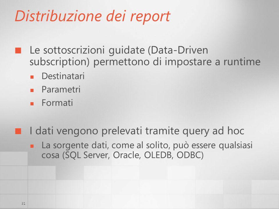 31 Distribuzione dei report Le sottoscrizioni guidate (Data-Driven subscription) permettono di impostare a runtime Destinatari Parametri Formati I dat