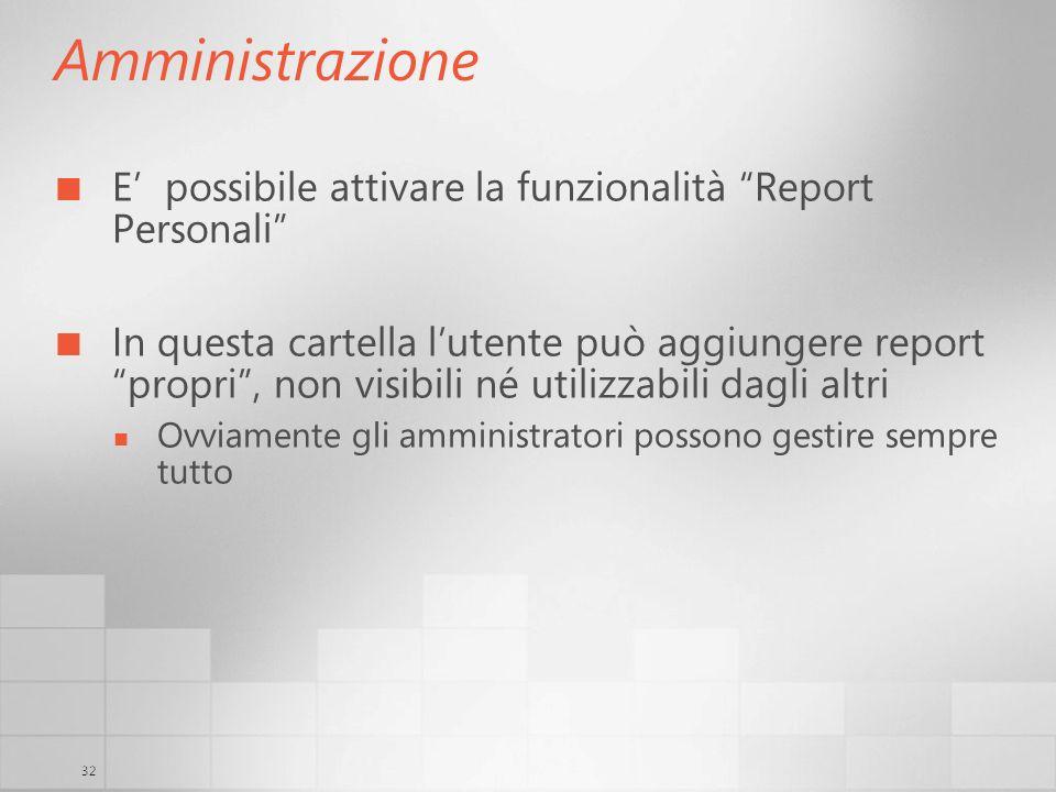 32 Amministrazione E possibile attivare la funzionalità Report Personali In questa cartella lutente può aggiungere report propri, non visibili né util