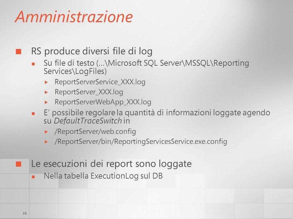 36 Amministrazione RS produce diversi file di log Su file di testo (…\Microsoft SQL Server\MSSQL\Reporting Services\LogFiles) ReportServerService_XXX.
