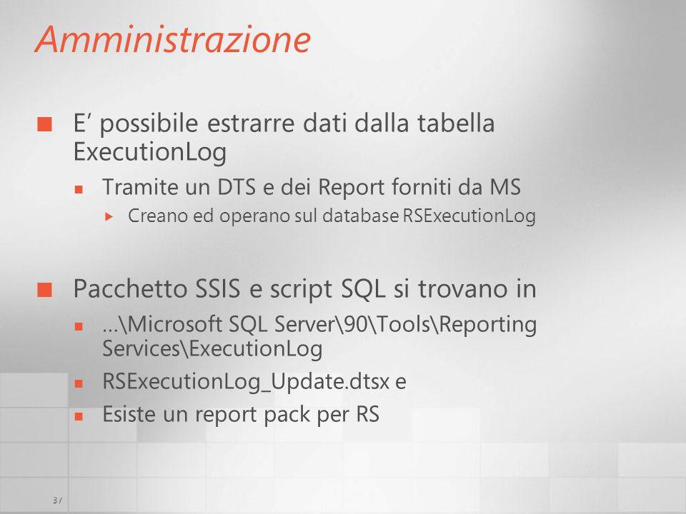 37 Amministrazione E possibile estrarre dati dalla tabella ExecutionLog Tramite un DTS e dei Report forniti da MS Creano ed operano sul database RSExe