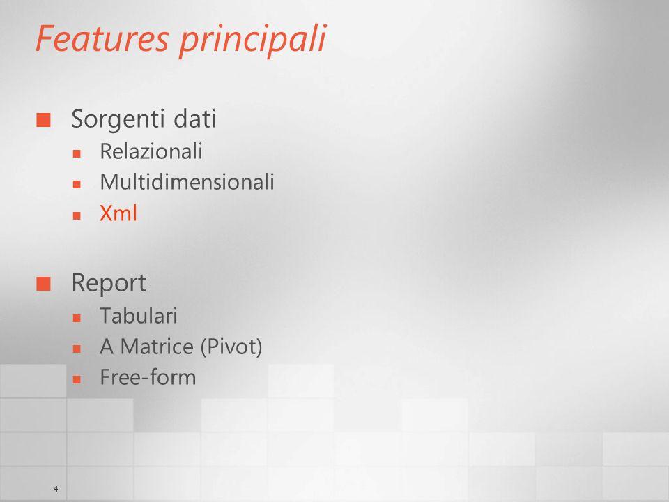 4 Features principali Sorgenti dati Relazionali Multidimensionali Xml Report Tabulari A Matrice (Pivot) Free-form