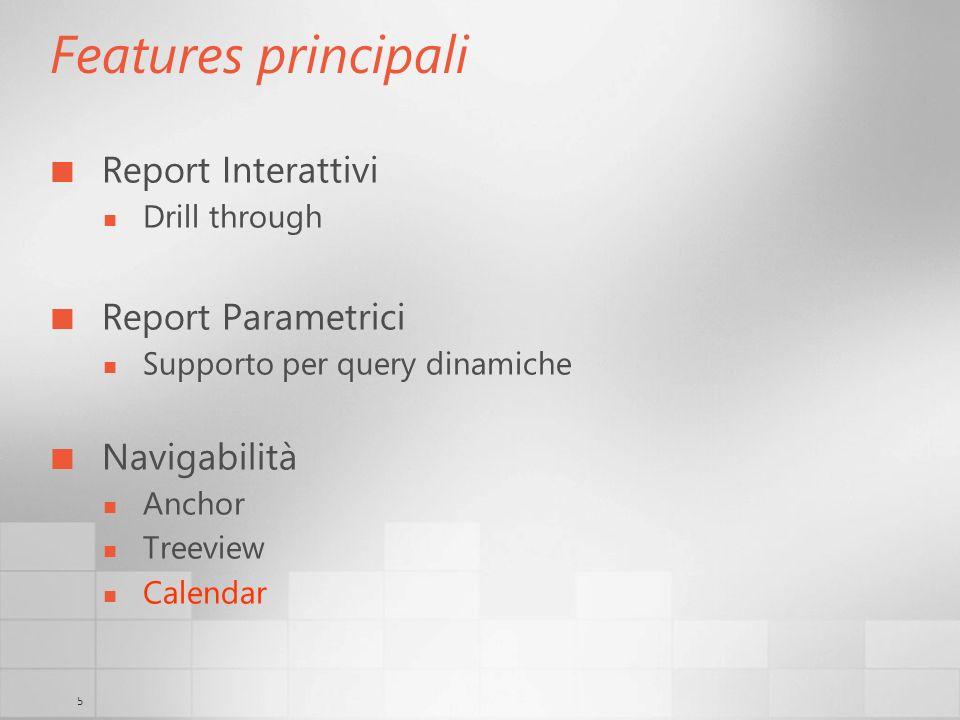 5 Features principali Report Interattivi Drill through Report Parametrici Supporto per query dinamiche Navigabilità Anchor Treeview Calendar