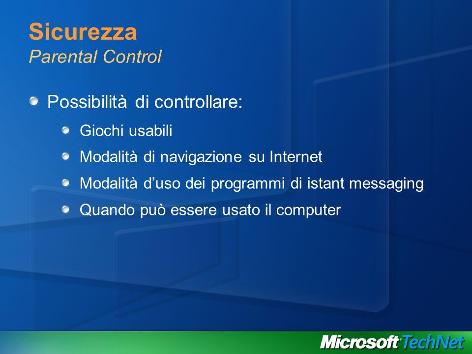 Sicurezza Parental Control Possibilità di controllare: Giochi usabili Modalità di navigazione su Internet Modalità duso dei programmi di istant messag