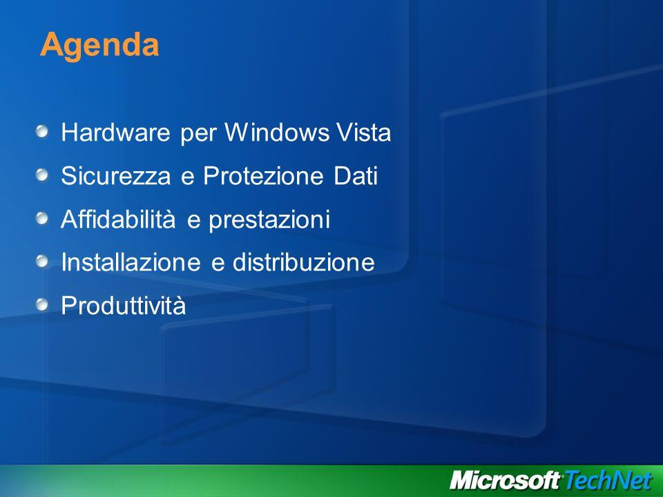 Agenda Hardware per Windows Vista Sicurezza e Protezione Dati Affidabilità e prestazioni Installazione e distribuzione Produttività