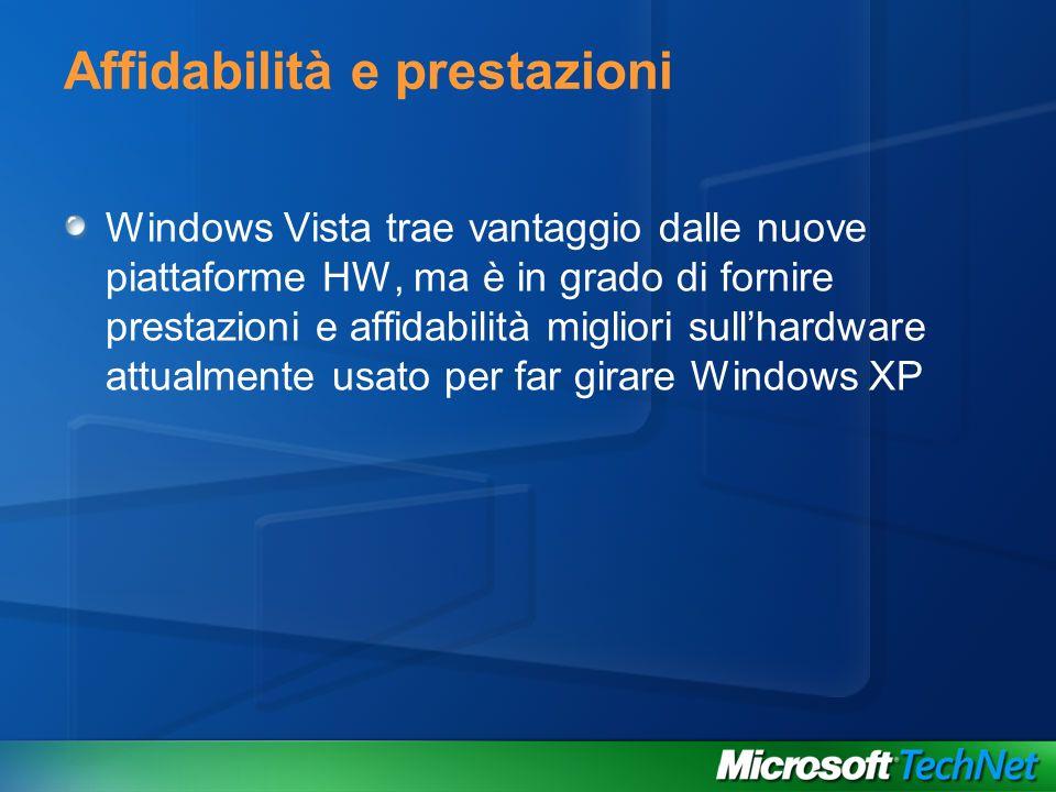 Windows Vista trae vantaggio dalle nuove piattaforme HW, ma è in grado di fornire prestazioni e affidabilità migliori sullhardware attualmente usato p