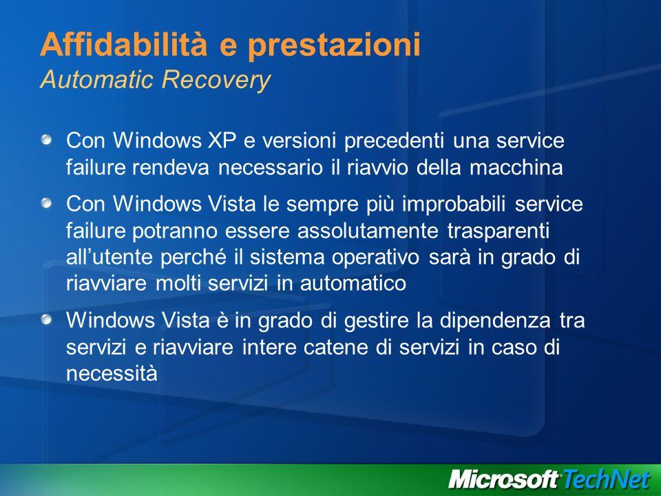 Affidabilità e prestazioni Automatic Recovery Con Windows XP e versioni precedenti una service failure rendeva necessario il riavvio della macchina Co