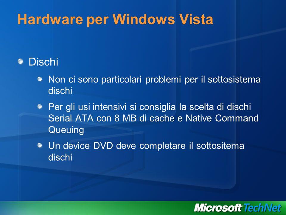 Hardware per Windows Vista Dischi Non ci sono particolari problemi per il sottosistema dischi Per gli usi intensivi si consiglia la scelta di dischi S